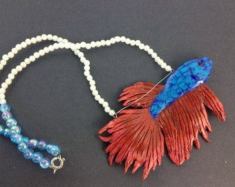 Blue & Red Beta Fish Necklace