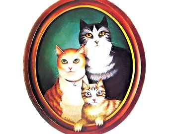 Cat Print - The Trio - 1985 Vintage Book Page - 9 x 12
