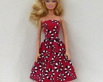 Red Abstract Handmade Barbie Dress Liv Dress Fashion Doll Dress