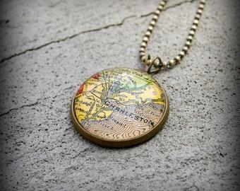 Charleston Map Necklace