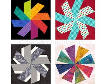 Swirligig quilt block pattern, paper piecing quilt pattern, whirling star quilt, star pattern, asterisk pattern, instant download, starburst