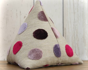 Fabric Doorstop, Doorstopper in Purple and Pink Spotty Fabric, Triangular, Pyramid Shape