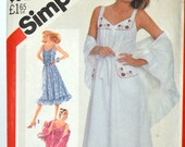 Vintage 1980's Sewing Pattern Simplicity 5495 Misses' Sundresses with Shawl Bust 34 Inches Complete Uncut