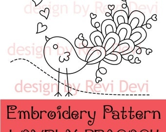 Peacock embroidery pattern, modern design, PDF download / Lovely Peacock / instant download / modern embroidery, bird, download