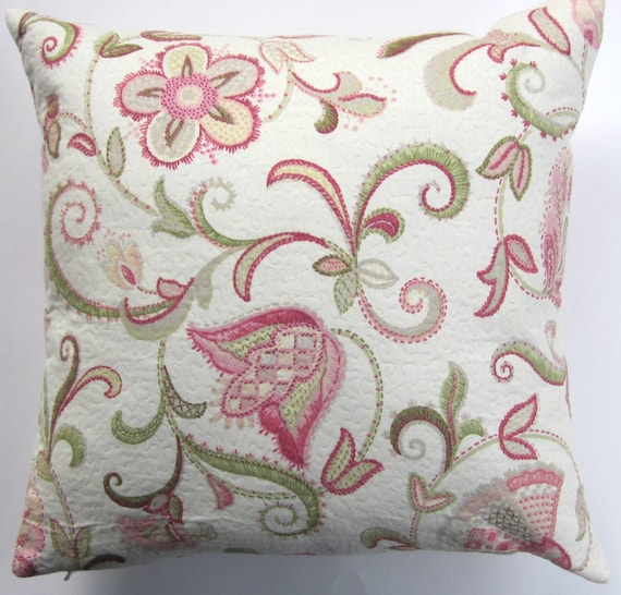 Etsy Pink Throw Pillow : Pink Throw Pillow Cover Pink and Green Floral Cushion Cover