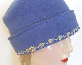Womens Fleece Winter Hat - Indigo Blue with French Ribbon Trim - Claire