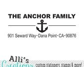 Anchor Nautical Themed Return Address Stamp - Self Inking Address Label