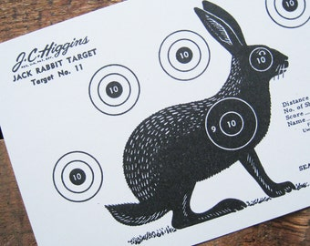 Reproduction of a Vintage Jack Rabbit Shooting Target Paper Sheet - No. 11 - J.C. Higgins, Sears