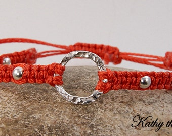 Karma Bracelet - Orange Sterling Silver Macrame Karma Circle Bead Bracelet - KTBL