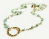 Amalfi Necklace with Chrysoprase Handmade Necklace Gold Filled Wire Wrapped Hammered Circle