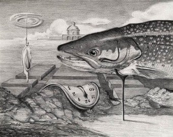 Dali Varden Funny Fish pencil drawing Salvadore Dolly, I mean Dali, Time Clock Parody Art Print by Barry Singer