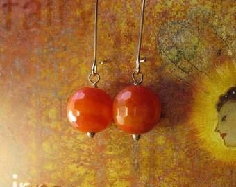 Orange Earrings, Fire Agate Earrings, Orange Stone Earrings, Sacral Chakra Stone, Fiery Orange Stone Earrings, Bold Orange Stone Earrings