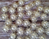Round Off White Pearl / Silver - Embellishment - Size 14mm Flat Back - DIY Supplies x 20