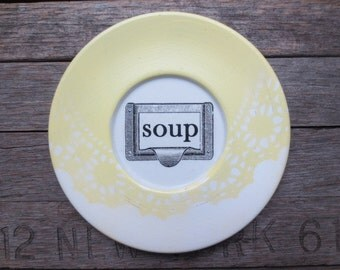 YELLOW Farmhouse Kitchen Sign // Shabby Cottage Kitchen // Soup Sign // Vintage Kitchen Wall Decor // White and Yellow