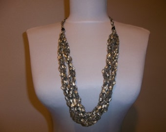Crocheted Ladder Yarn Necklace 6 Strand Ayda 1233 Black White with Gold Metallic Adjustable Length