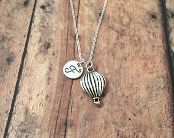 Hot air balloon initial necklace - balloon necklace, silver hot air balloon necklace, travel necklace, balloon jewelry, Albuquerque jewelry