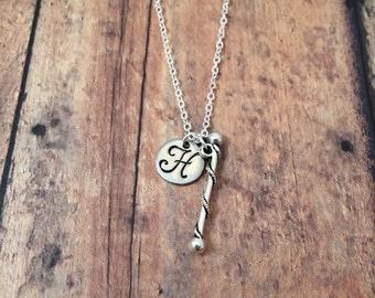 Baton initial necklace - majorette necklace, silver baton necklace, band necklace, gift for majorette, baton twirler necklace, baton jewelry