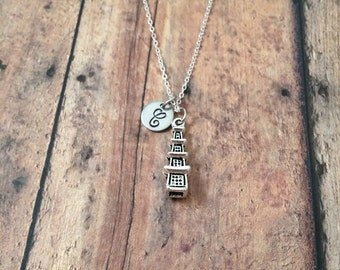 Pagoda initial necklace - pagoda jewelry, temple necklace, Chinese pagoda necklace, shrine necklace, silver pagoda necklace, Asian necklace