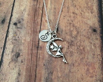 Moon fairy initial necklace - fairy jewelry, moon charm necklace, moon jewelry, faerie necklace, silver fairy necklace