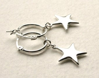 Silver Star Earrings Lucky Wishing Star Hoops