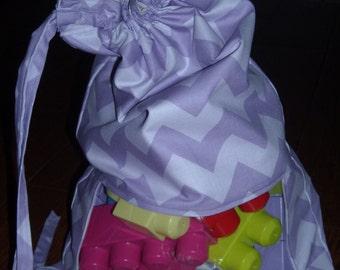 Purple tonal chevron peek a boo toy sack