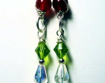 Handmade Dangle Earrings, Ladies Crystal Sterling Wire Earrings, Red and Green, Ruby red and Peridot Crystal Jewelry,