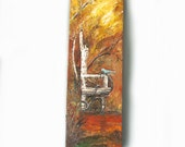 Original Fall Painting on Wrapped Canvas Birch Tree Chair and Blue Bird