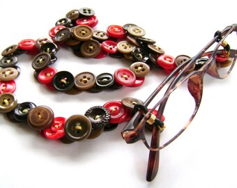Glasses Chain in Vintage Buttons in Browns, Tans and Reds