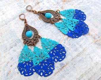 Boho chandelier earring shoulder duster big unique earrings statement earrings Bohemian jewelry