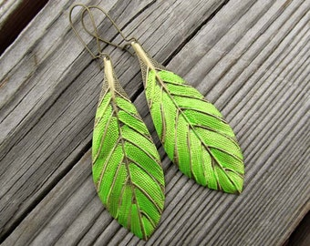 Leaf earrings lime green dangle earrings bohemian jewelry  Spring trends