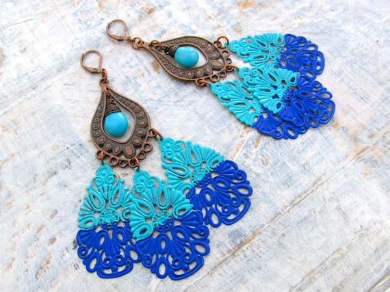 Boho chandelier earring shoulder duster big unique earrings statement earrings Bohemian jewelry