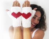 White Fingerless Gloves with Red Heart -  Mittens - Valentines Day by Afra
