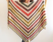 NEW! Earth Tones Color Mohair Triangle Shawl by Afra