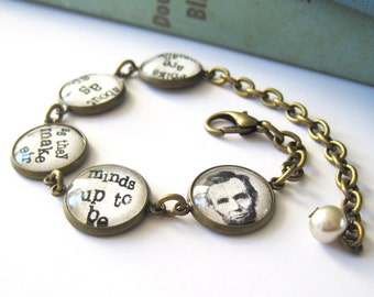 Abraham Lincoln Quote Antique Brass Bracelet