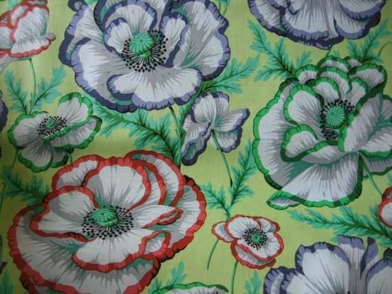 Kaffe Fassett Collection Banded Poppy On Sage 2 Yards