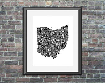 Ohio typography map art print 16x20 customizable personalized state poster custom wall decor engagement wedding housewarming gift