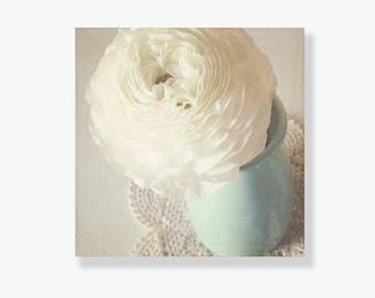 Shabby chic flower Canvas art, shabby chic decor, white ranunculus, pale blue decor, flower photo canvas, flower wall art - Just A Memory