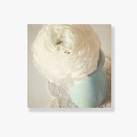 Wall Art Canvas Shabby Chic : Shabby chic flower canvas art decor white