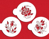 Roses are Red Cookie Stencil Set for Cookies, Cupcakes & Cakes - Designer Stencils (C809) Roses, Rose Buds, face painting