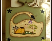 Primitive Spring Swan Saltbox House Wood Plaque Hand Painted Home Decor
