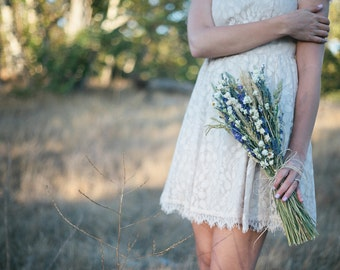 Wildflower Wedding  Brides Bouquet of Lavender Larkspur Wheat and other dried flowers