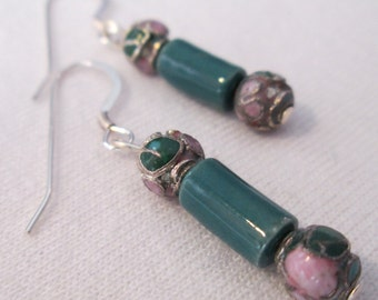 Forest Green Ceramic and Cloisonne Earrings