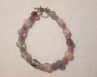 Fluorite and Delica Beaded Bracelet