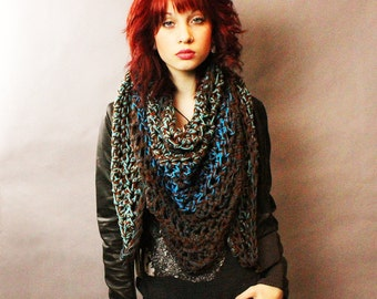 My Love Rasta chunky lace cowl scarf open end Vegan Boho Water turquoise teal blue