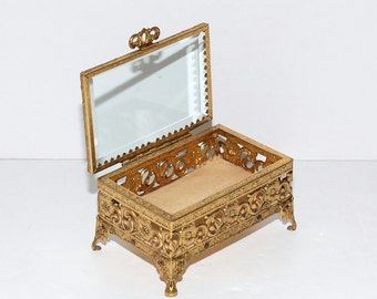 Vintage Ormolu Beveled Glass Jewelry Casket Box
