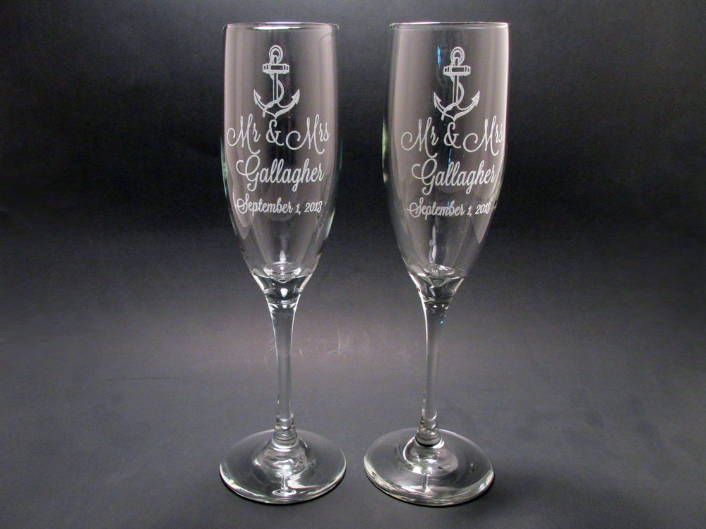 personalized anchor champagne flutes wedding toasting flutes