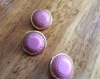 Pink Vintage Glass Buttons - Three/ 1930s Buttons / 1940s Buttons / Vintage Glass Buttons / Vintage Sewing Notions / Vintage Sewing Supplies