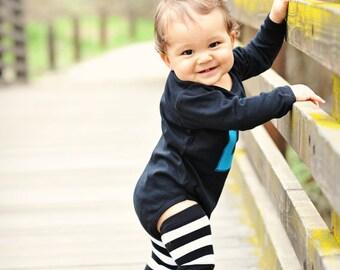 Black, White Stripe Baby Leg Warmers - Arm Warmers, Leggings for Infant, Toddler, Kid, Tween - Baby Shower or Birthday Gift for Boy or Girl