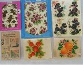 5 Vintage Meyercord Decals - Misc Lot - Black Poodles, Kitchen Fruit, Angels and Violets