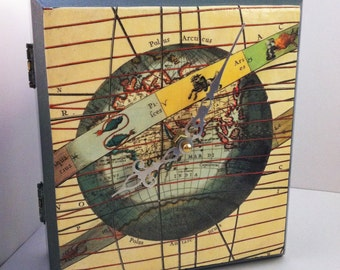 Vintage Zodiac Chart World Map Upcycled Cigar Box Clock